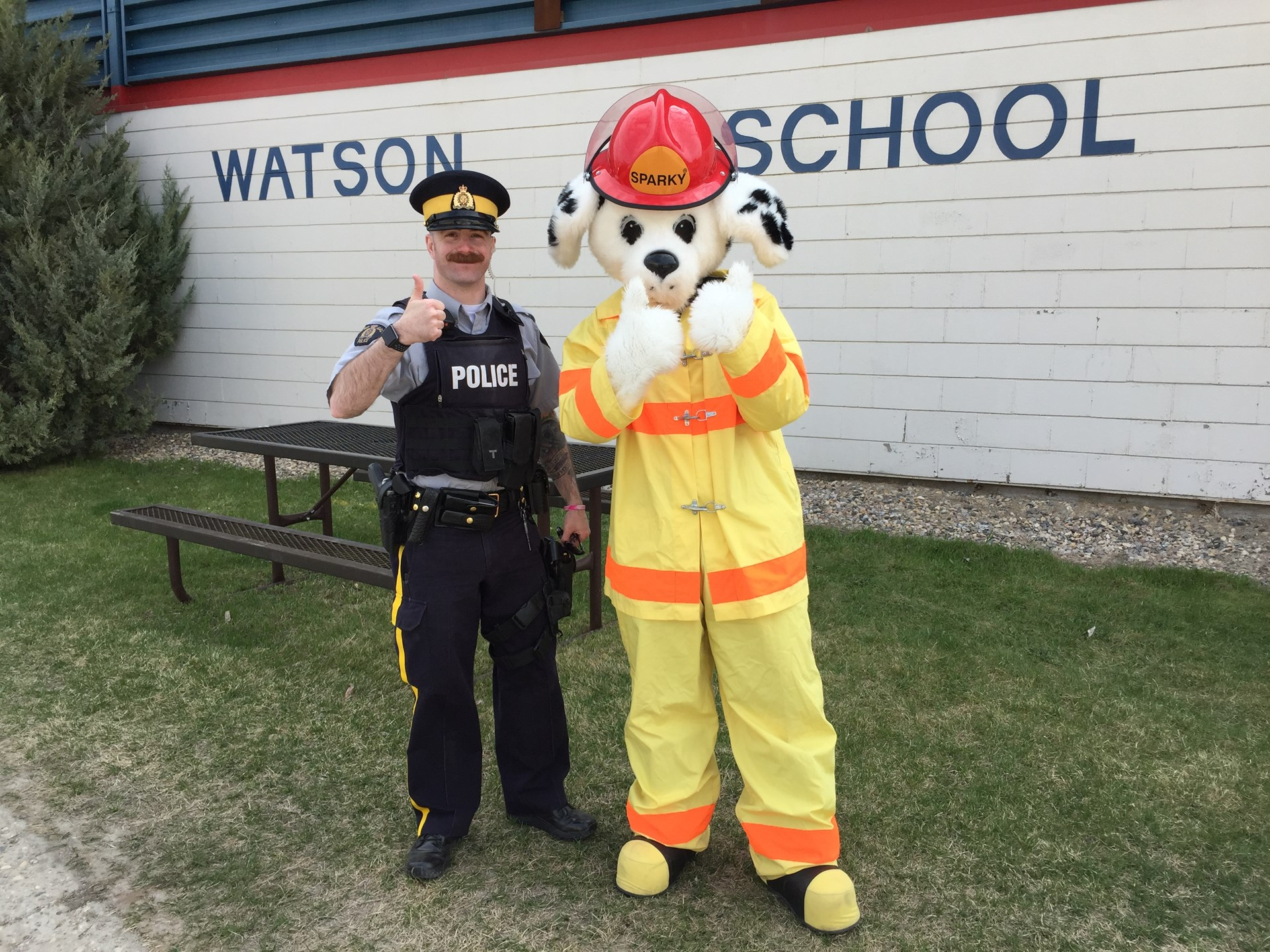 RCMP, Sparky the Fire Dog at Watson School.JPG