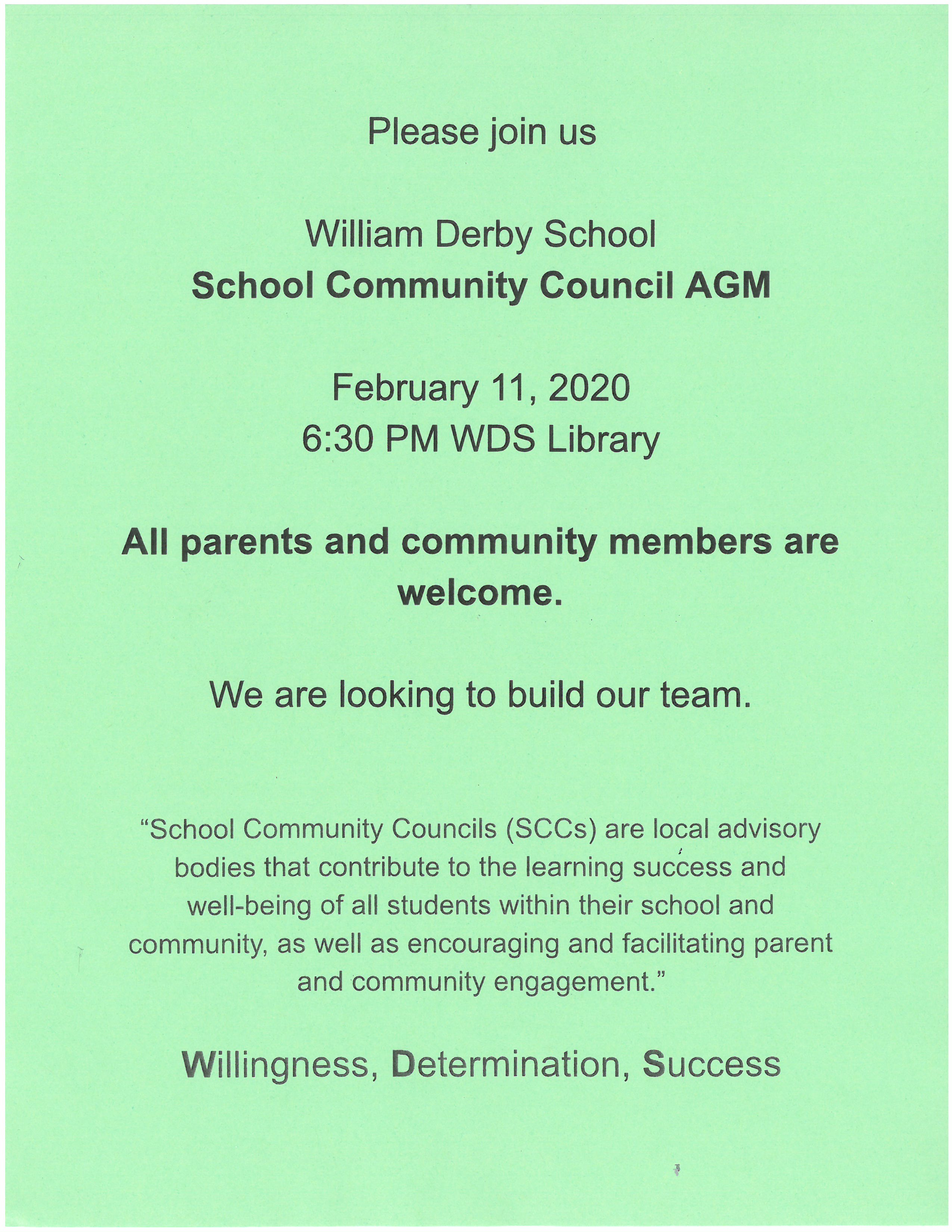 Come and be part of the WDS family!